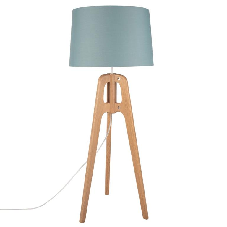 Lampe trépied en chêne et abat-jour vert