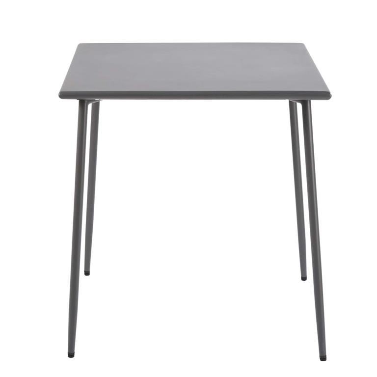Table de jardin en métal gris anthracite 4 personnes L70 Zinav