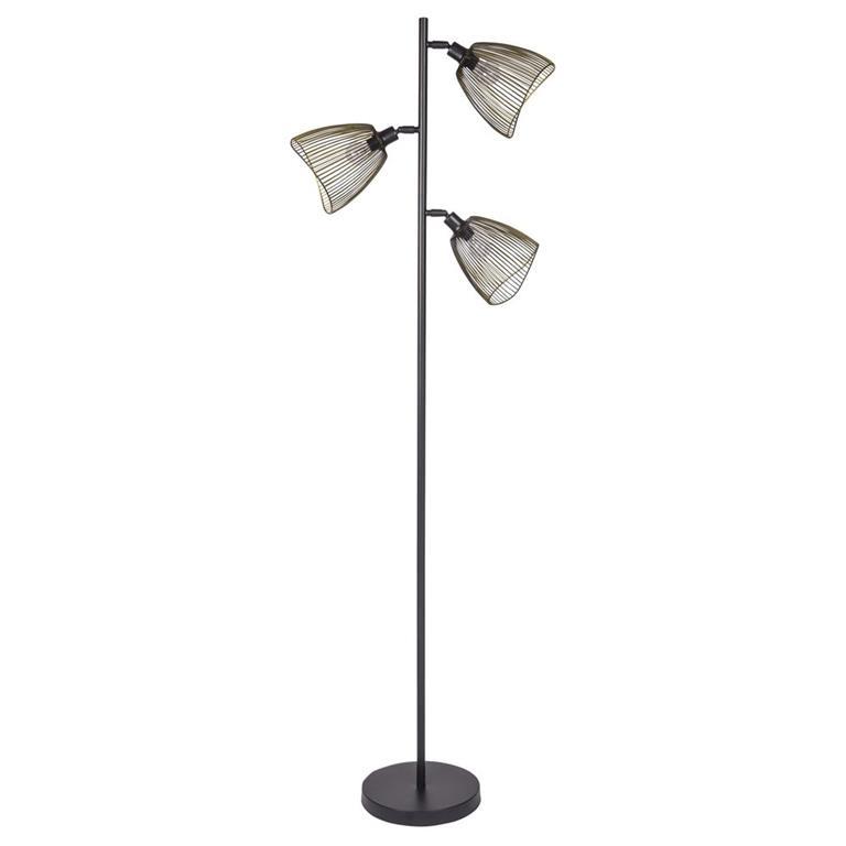 Lampadaire 3 spots en métal noir et doré H165