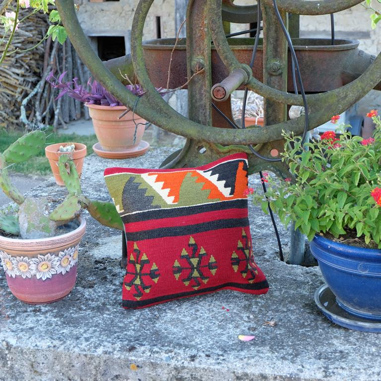 Image Le coussin en kilim s'associe à merveille avec les plantes vertes