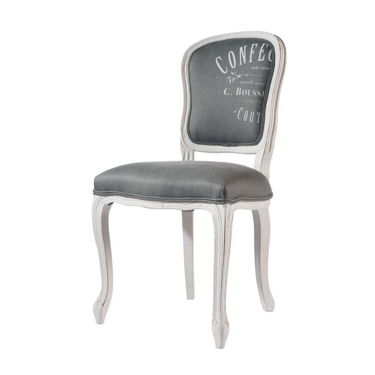 Chaise en lin et bois massif gris clair Versailles