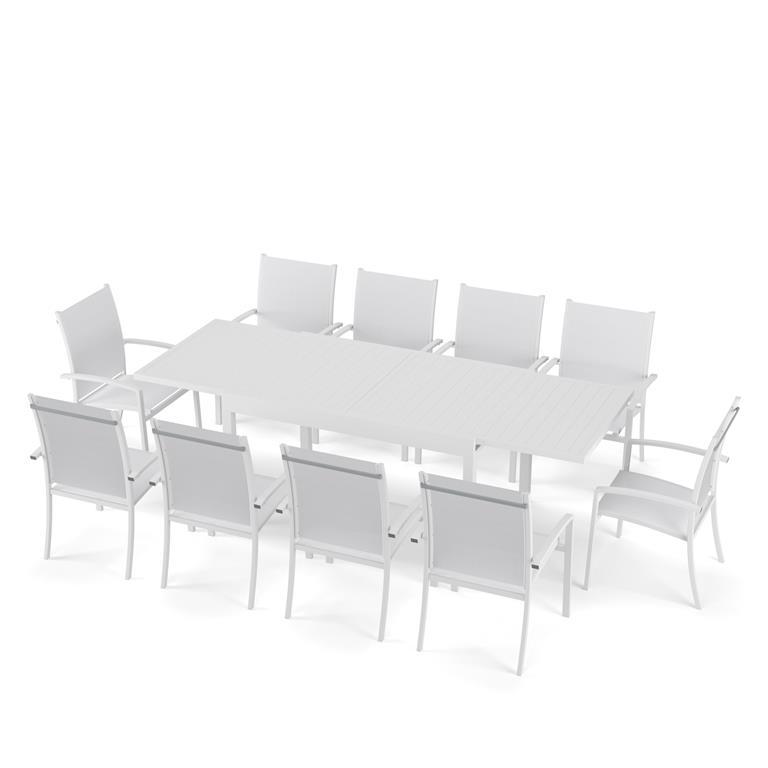 Ensemble de jardin 10 places en aluminium blanc