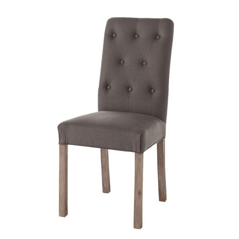 Chaise capitonnée en lin et pacanier taupe grisé Elizabeth