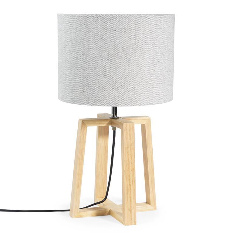 Lampe en hévéa avec abat-jour gris