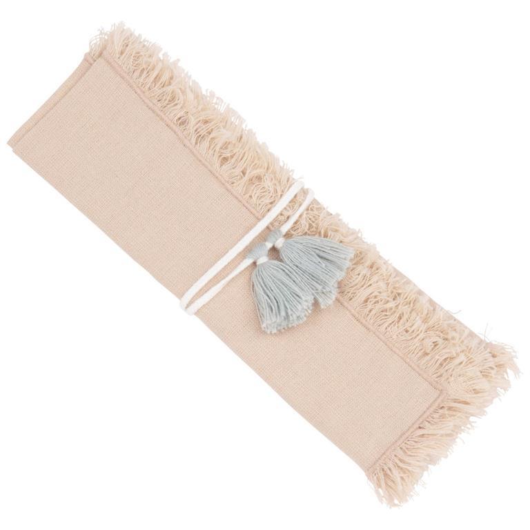Serviette et rond de serviette en coton et lin beige 40x40