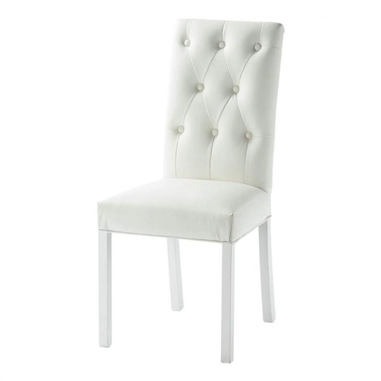Chaise capitonnée blanche Elizabeth