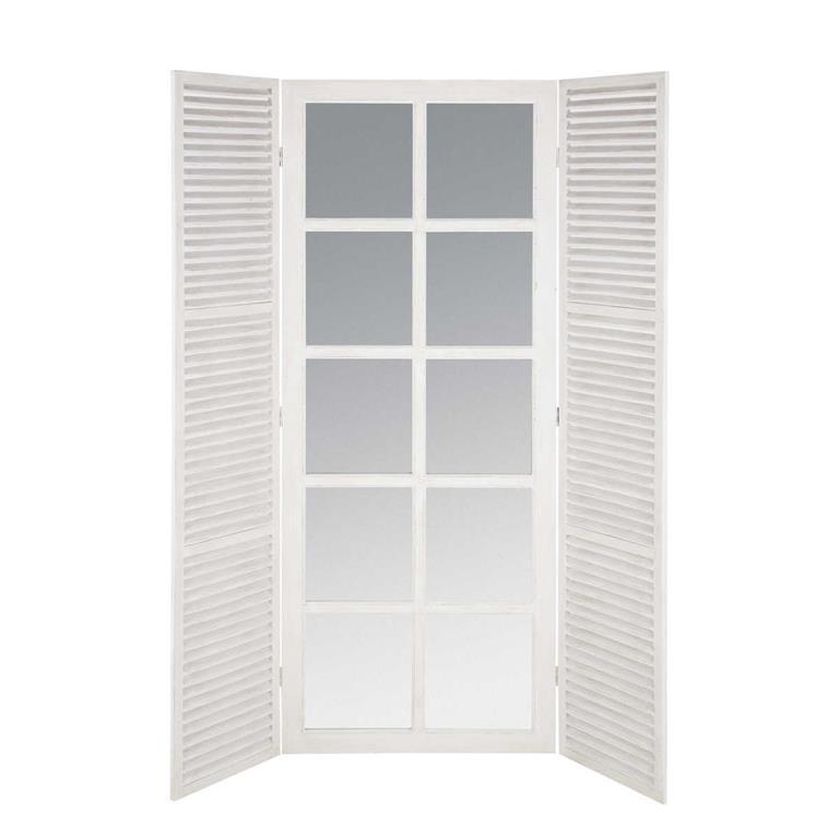 Miroir fenêtre en bois blanc H 200 cm RIVIERA