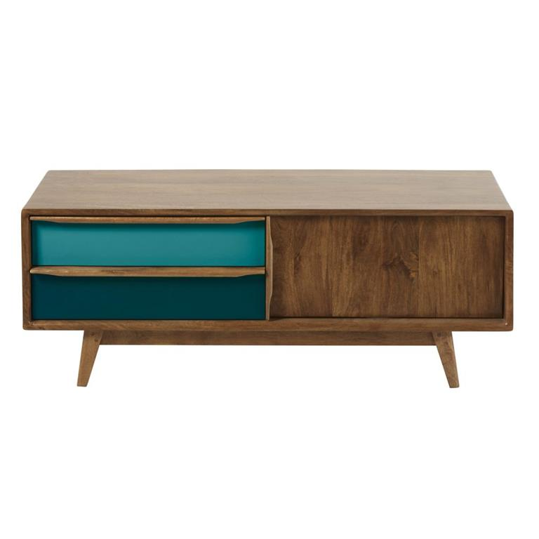 Meuble TV 2 tiroirs en manguier bleu et gris