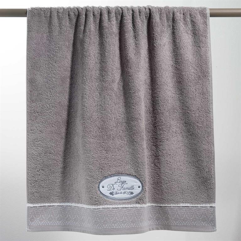 Drap de bain en coton gris 100x150 JEANNE