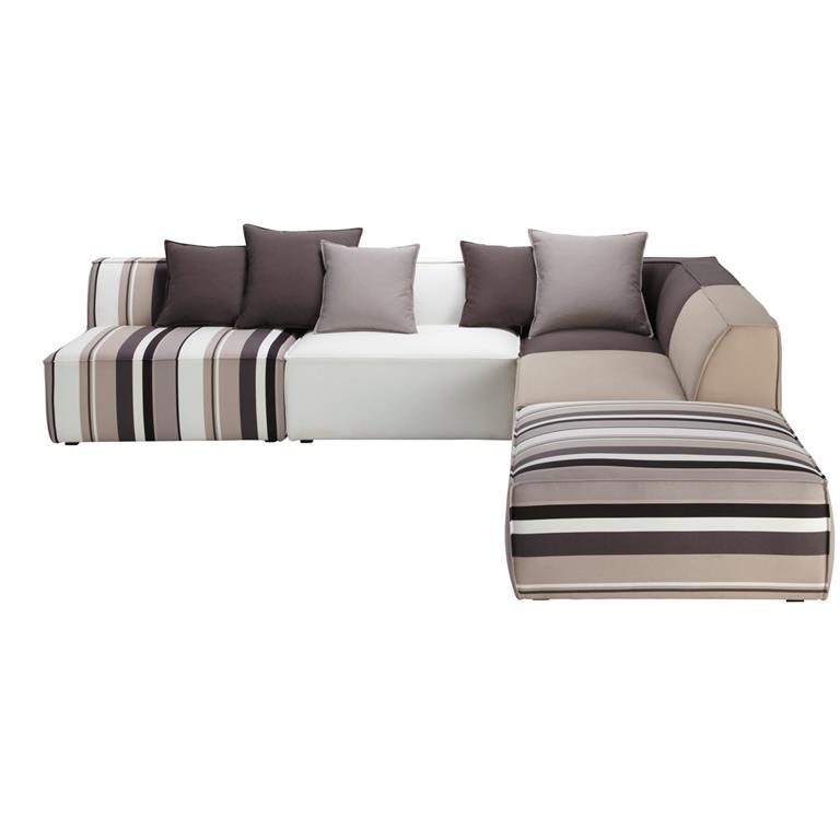 Canapé d'angle modulable à rayures 5 places en coton Manhattan