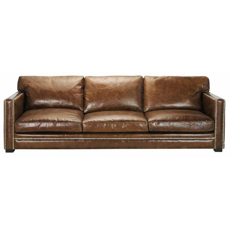 Canapé 4/5 places en cuir marron Dandy