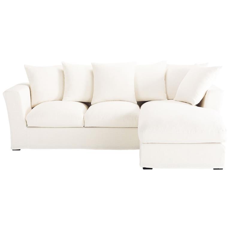 Canapé d'angle convertible 5 places en lin blanc Bruxelles