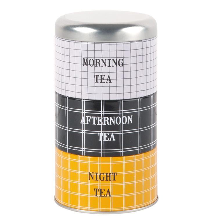 3 boîtes à thé empilables en métal motifs à carreaux