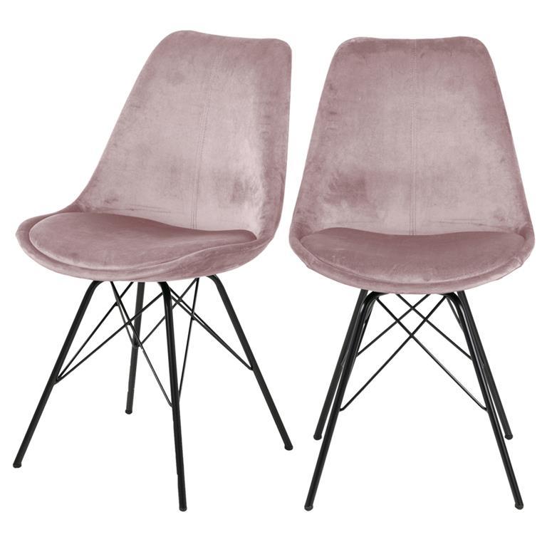 Lot de 2 chaises salle à manger pieds en métal rose