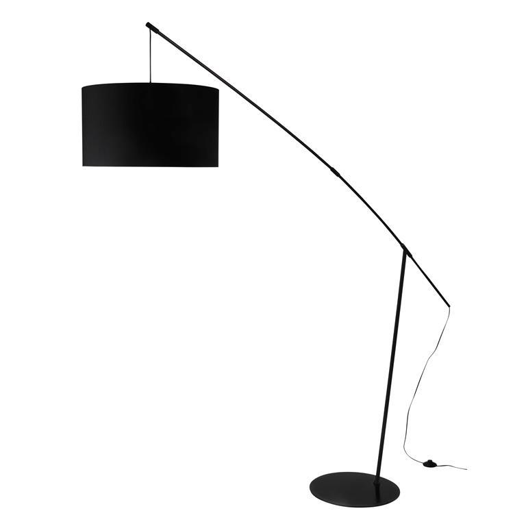 Lampadaire en métal et coton noir H 201 cm WIRE
