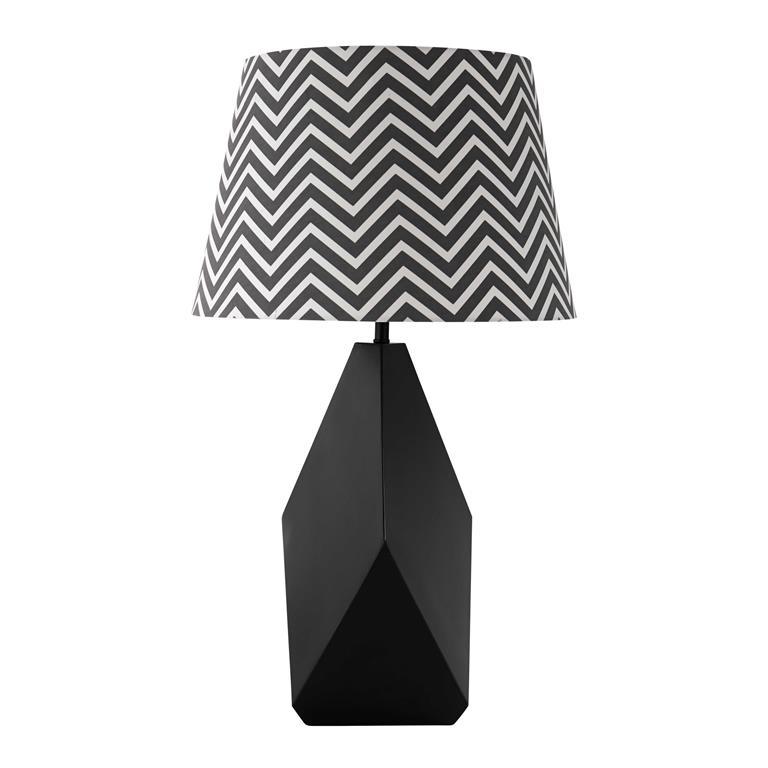 Lampe en métal et abat-jour en coton noire H 69 cm BONIFACIO