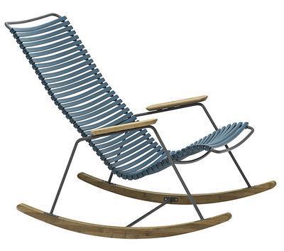 Rocking chair Click / Plastique & bambou - Houe bleu pétrole