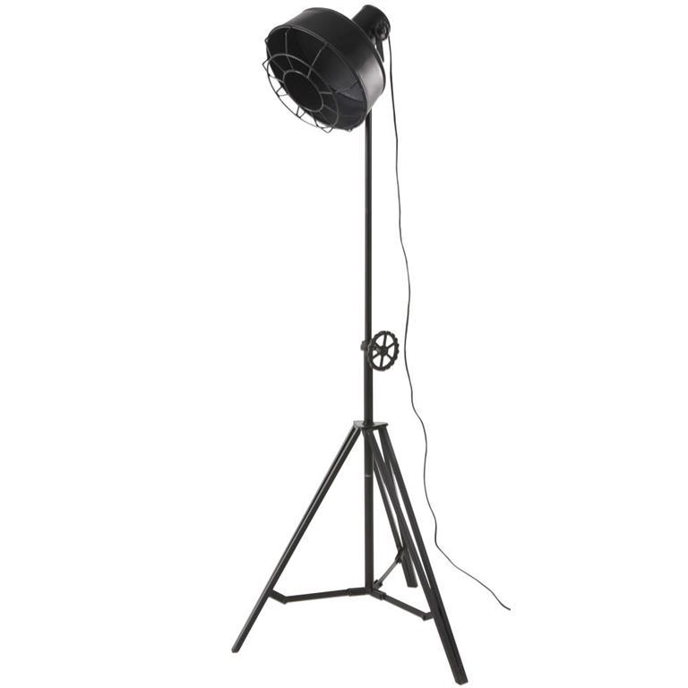 Lampadaire trépied projecteur en métal noir mat H168