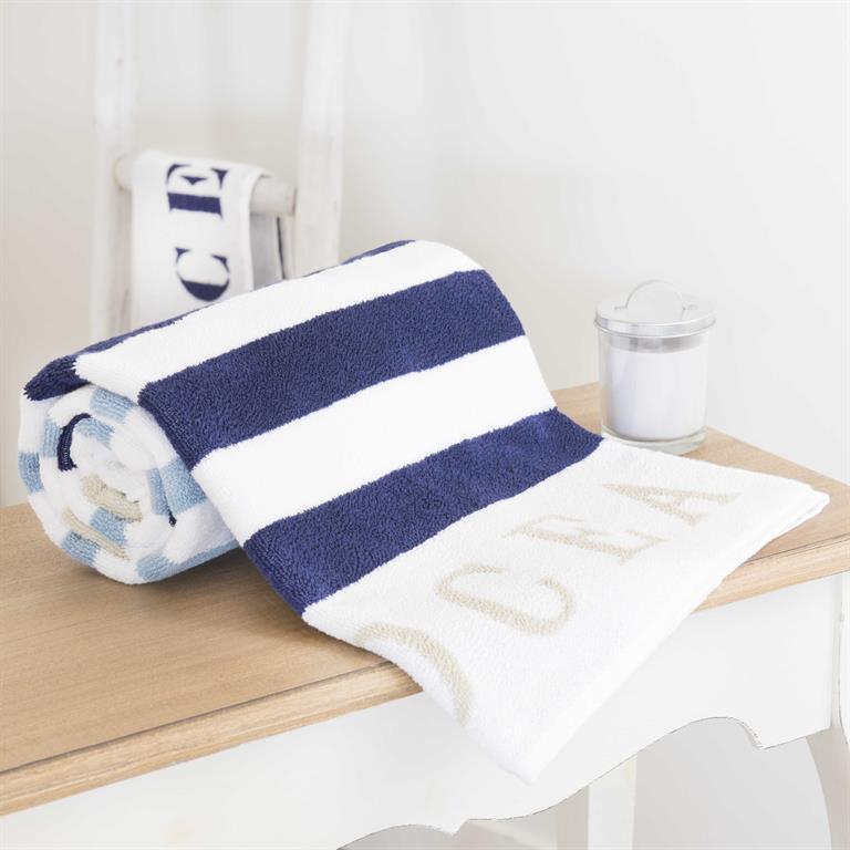 Drap de bain rayée en coton bleue 100x150 OCÉAN