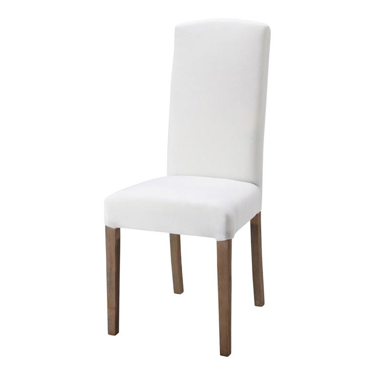 Chaise en tissu et bois blanche Alice