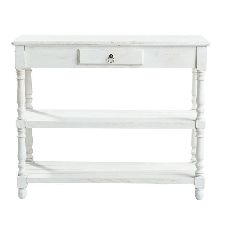 Table console en bois de paulownia blanche L 98 cm Joséphine