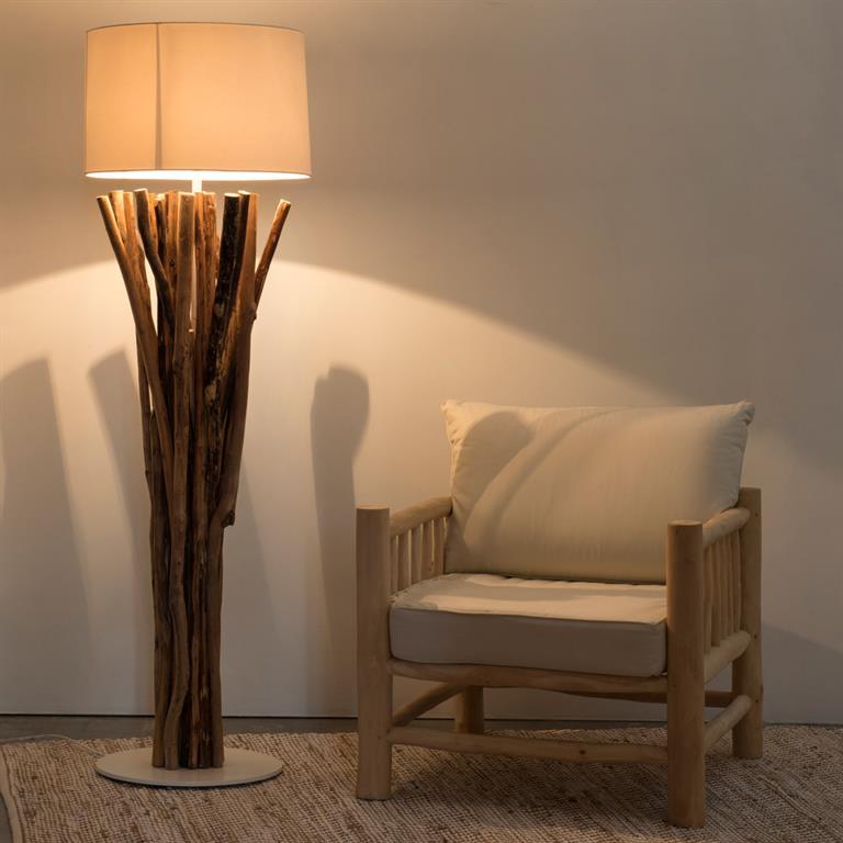 Lampadaire en bois flotté et tissu H 160 cm TOUNDRA