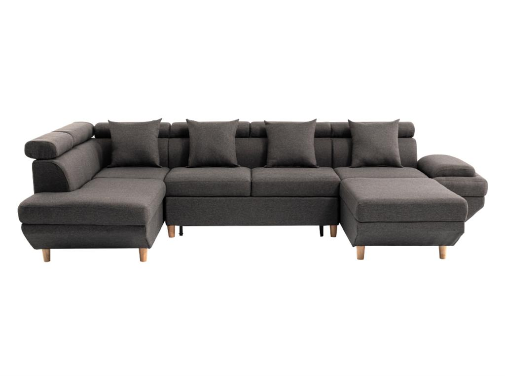 Canapé panoramique scandinave en tissu gris foncé - Angle gauche