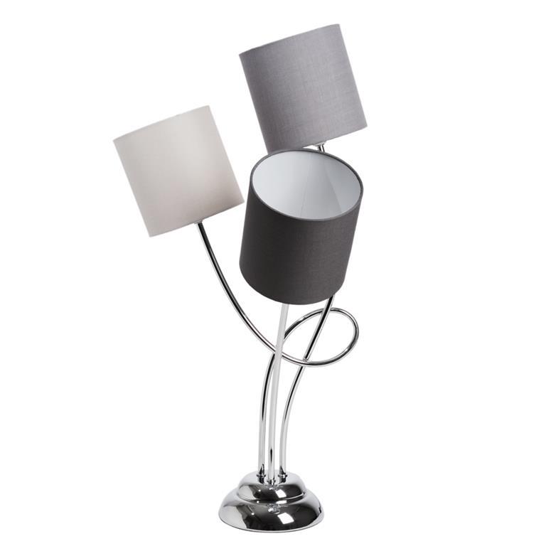 LAMPE TRIPLE PIEDS METAL 38 CM ABAT JOUR ROUGE: