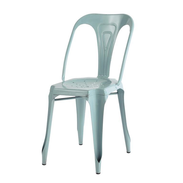 Chaise indus en métal bleu clair Multipl's