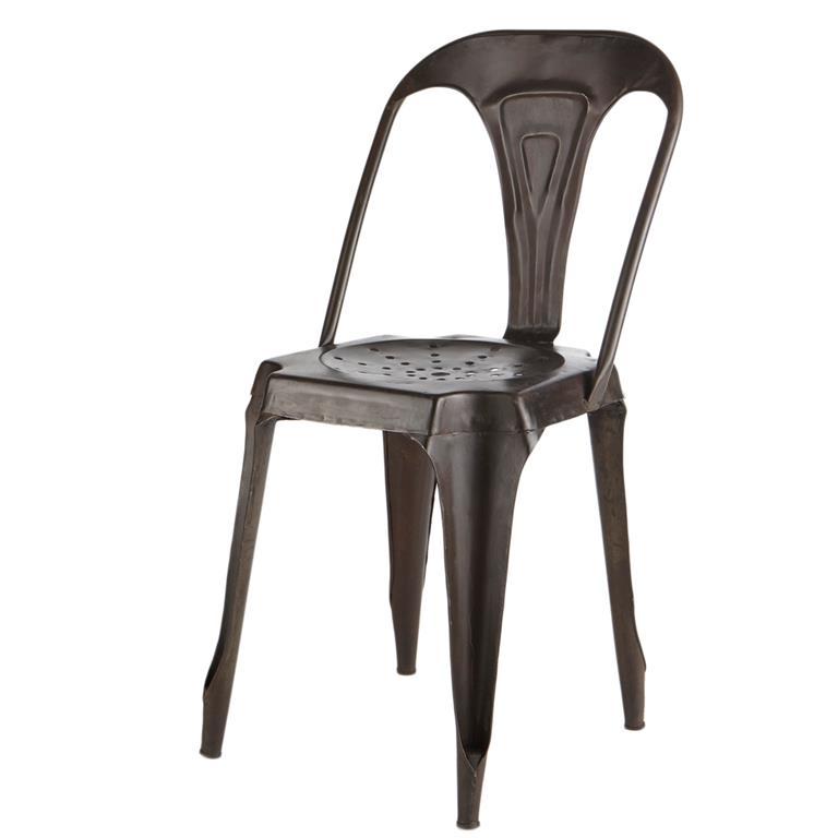 Chaise indus en métal noir