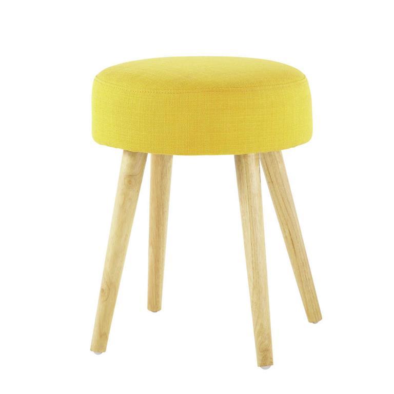 Tabouret jaune et pieds en pin et hévéa