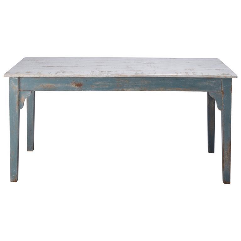 Table de salle à manger en manguier bleu grisé effet vieilli