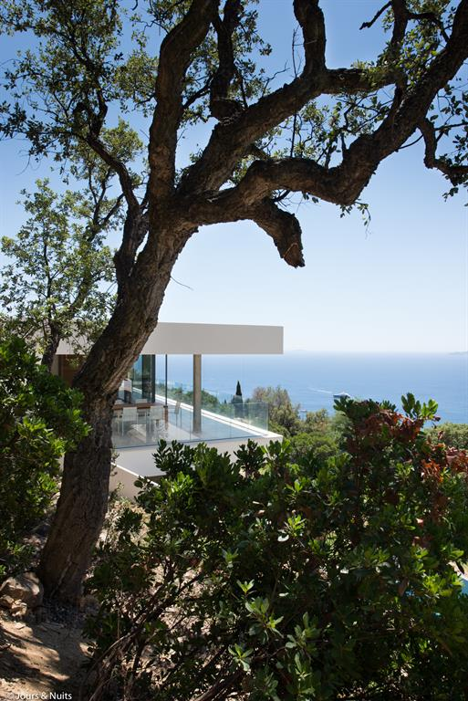 Maison contemporaine dans les arbres
