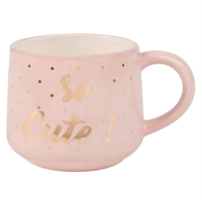 Mug 3D renard en faïence rose imprimé doré