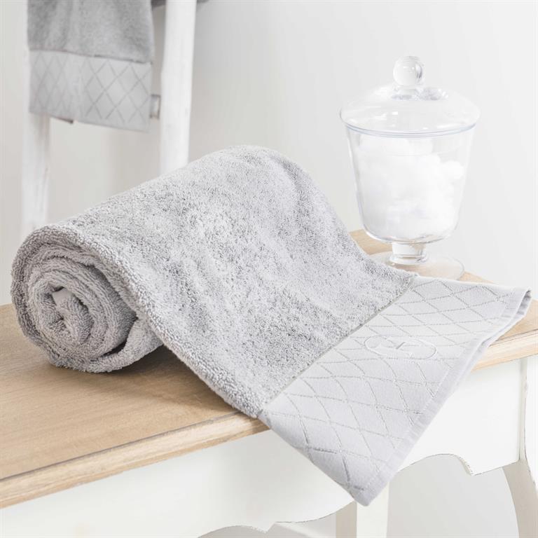 Serviette de toilette en coton gris 30x50 HÔTEL