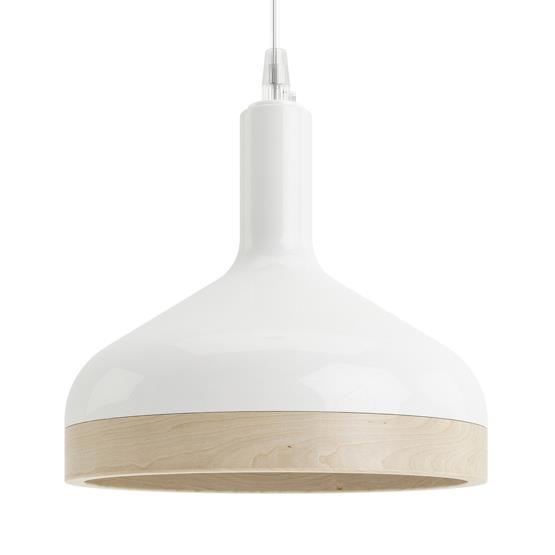 Suspension Plera Blanc en céramique et bois - Enrico Zanolla