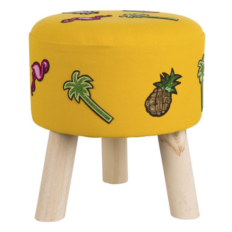 Tabouret jaune motifs tropicaux