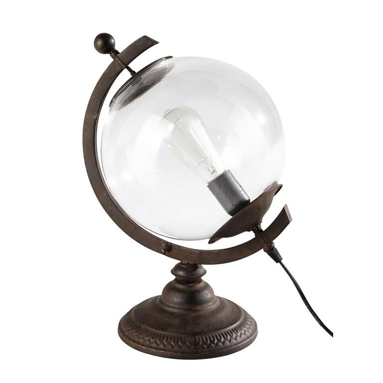 Lampe globe en verre et métal H 41 cm VOLTAIRE