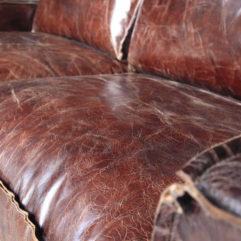 canap vintage 3 places en cuir marron colonel maisons du. Black Bedroom Furniture Sets. Home Design Ideas