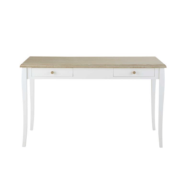 Bureau 2 tiroirs blanc Angélique