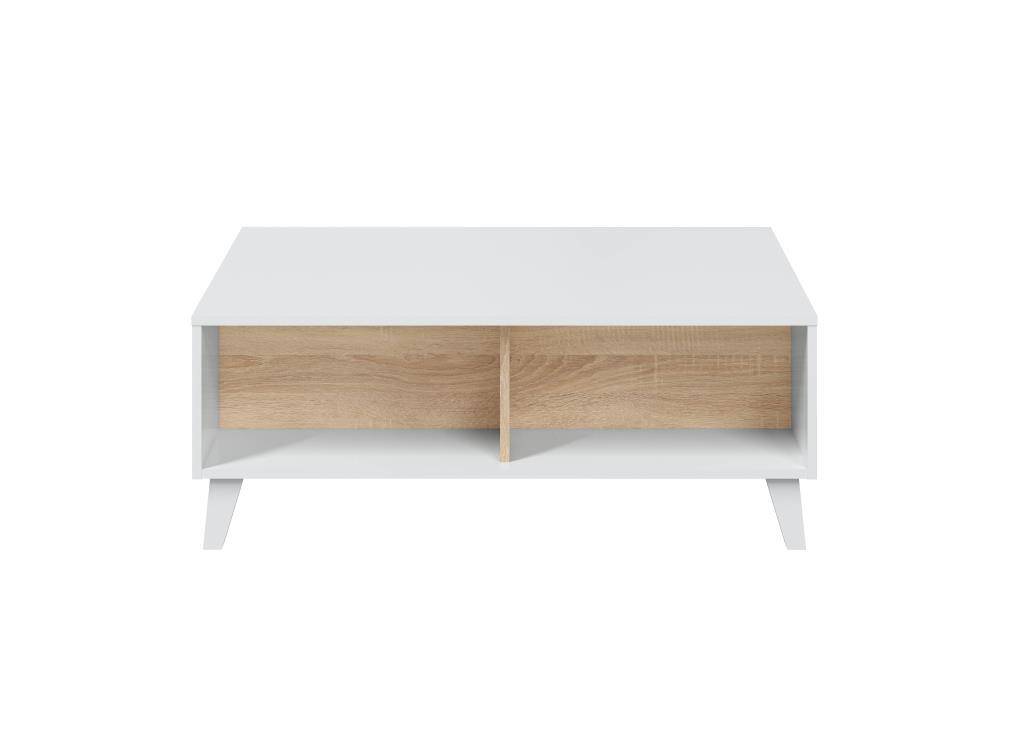 Table basse blanche/bois avec panneau central relevable L100cm x P68cm