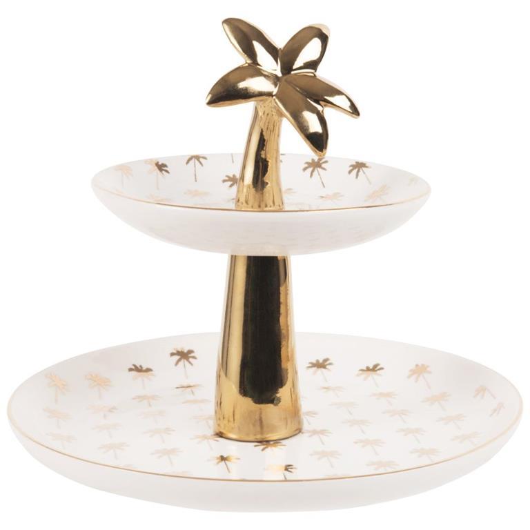 Serviteur palmier en porcelaine blanche et dorée