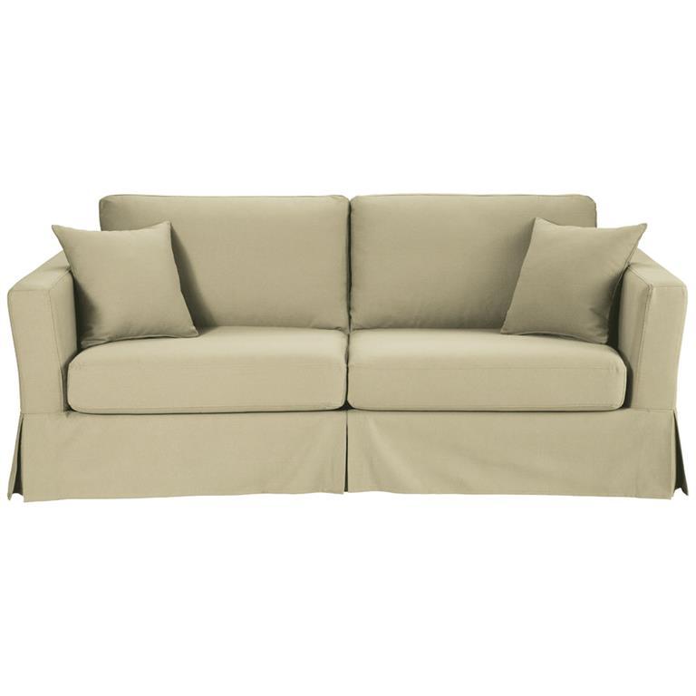 Canapé-lit 3 places en coton beige Royan