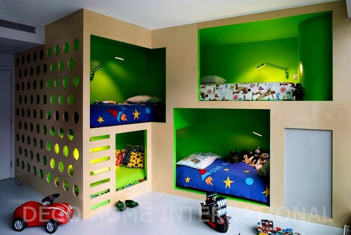 3 petits lit pour enfants dans des niches am nag es. Black Bedroom Furniture Sets. Home Design Ideas
