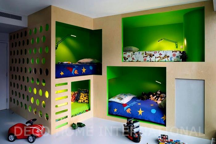 3 petits lit pour enfants dans des niches am nag es for Photos chambre enfant