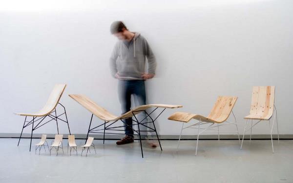 Série de chaises en bois cintré avec piétement en acier noir ou blanc