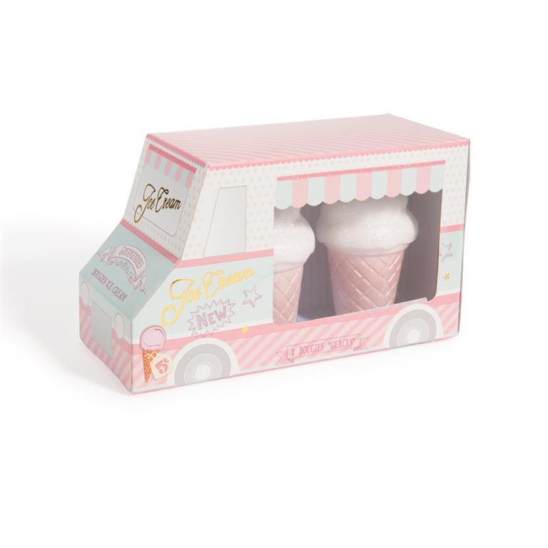 2 bougies cornet de glace maisons du monde ref 136336. Black Bedroom Furniture Sets. Home Design Ideas