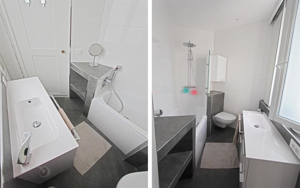 Image Incorporation d'une baignoire en acier emeuillé en pan coupé pour favoriser la circulation