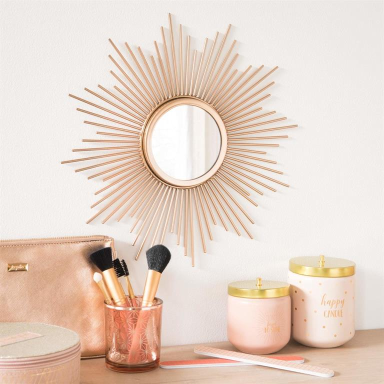miroir soleil en m tal dor d33 maisons du monde ref 171929. Black Bedroom Furniture Sets. Home Design Ideas