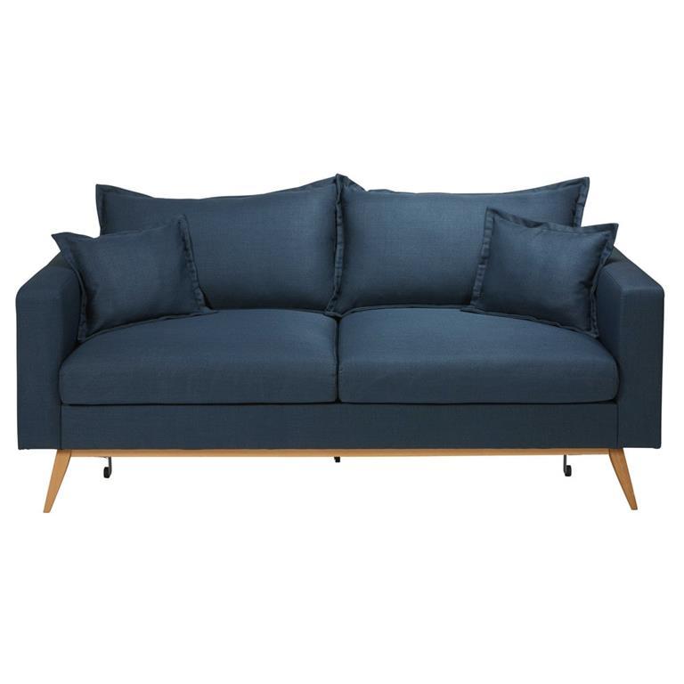 Canapé-lit 3 places bleu nuit Duke